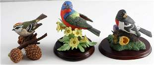 LENOX PORCELAIN PAINTED BUNTING & BIRD FIGURINES
