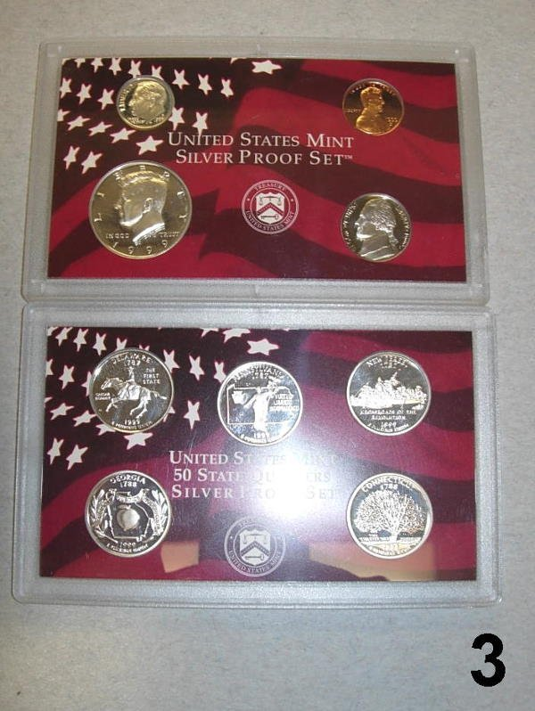 103: 1999 S SILVER PROOF SET - 9 COIN SET WITHOUT BOX,