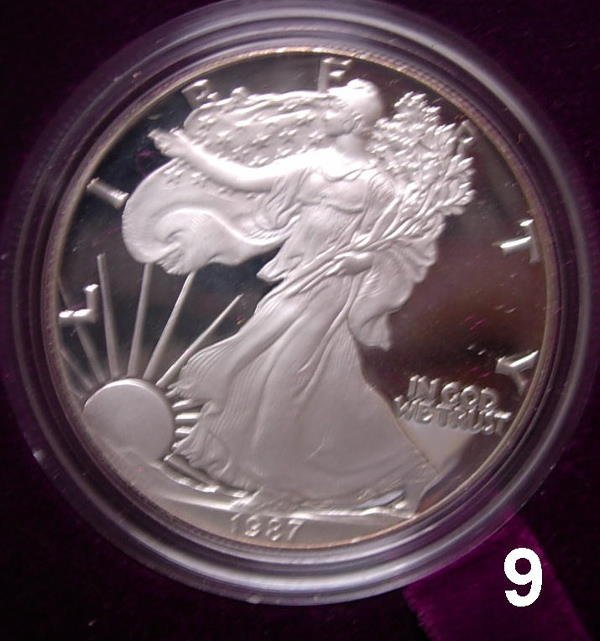 109: 1987 PROOF SILVER EAGLE BOXED WITH PAPERWORK