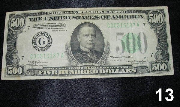 1013: FEDERAL RESERVE SMALL SIZE NOTE $500 1934A VF. JU