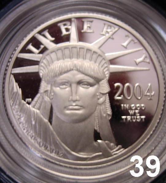 1039: 2004 AMERICAN EAGLE PROOF PLATINUM 1/4 OZ COIN IN