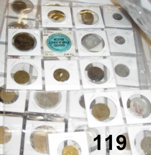 10119: TOKEN LOT OF 50 - AMERICAN WITH A FEW FOREIGN, S