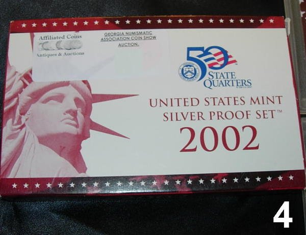 204: 2002 US SILVER PROOF SET 10 COIN SET BOXED WITH PA