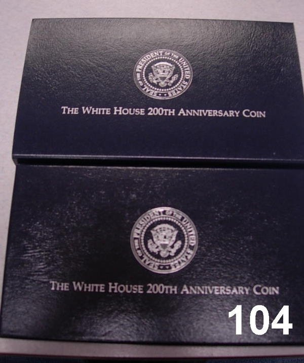 20104: WHITEHOUSE COMMEMORATIVE 1992 2 COINS 1 BU DOLLA