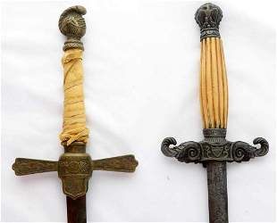 LOT OF 2 COLUMBUS KNIGHTS FRATERNAL SWORD SCABBARD