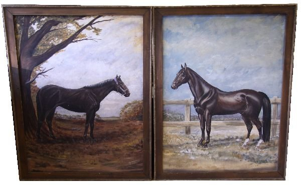 2 LARGE FRAMED HORSE PAINTINGS SIGNED