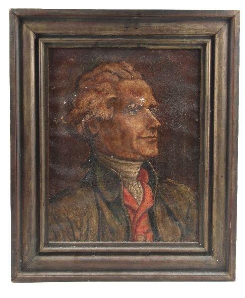 CANVAS PAINTED PORTRAIT OF THOMAS JEFFERSON