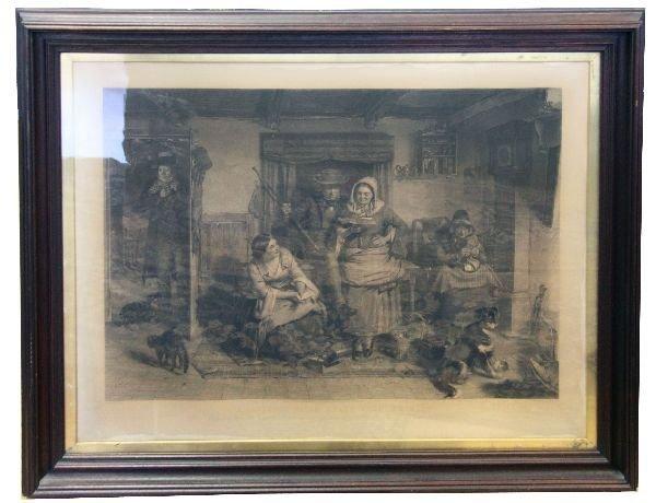HUGE FRAMED 1862 HENRY GRAVES STIPPLE ENGRAVING