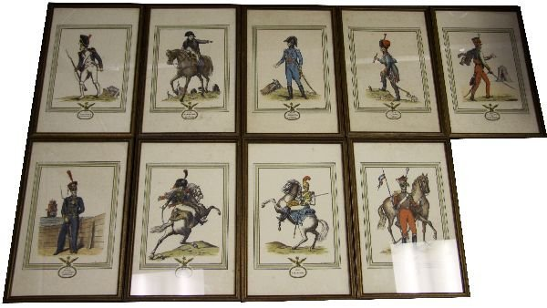 LOT 9 COLOR LITHO FRENCH OFFICERS BY DERVEAUX