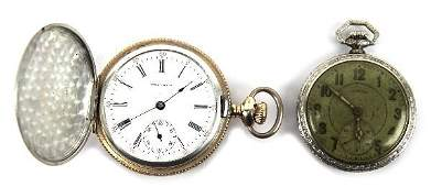 ILLINOIS AND WALTHAM ANTIQUE POCKET WATCHES