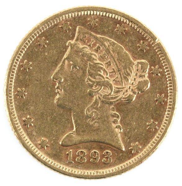 1893 $5 GOLD HALF EAGLE LIBERTY COIN