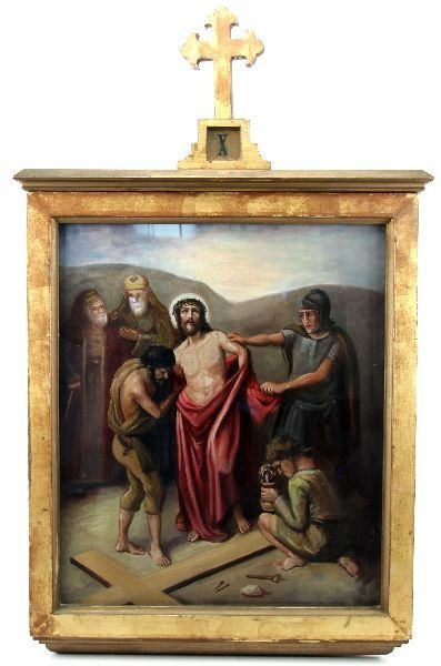 ANTIQUE FRAMED STATION OF THE CROSS PAINTING