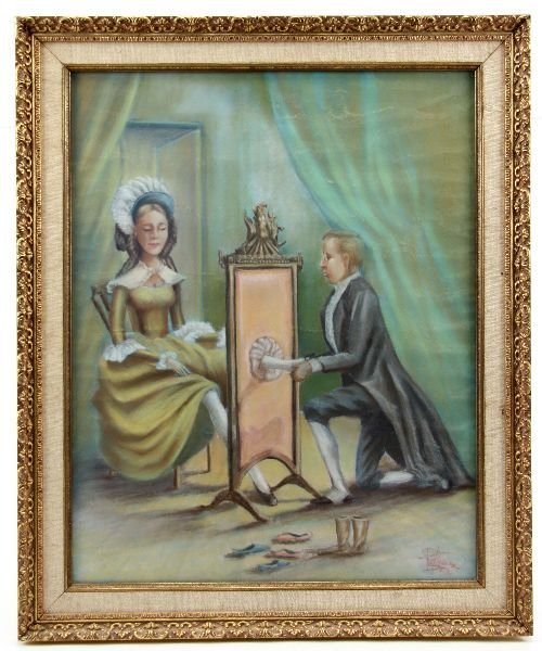 FRAMED CHARCOAL OF SHOE SALESMAN AND LADY