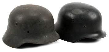 LOT OF TWO WWII GERMAN M40 HELMETS