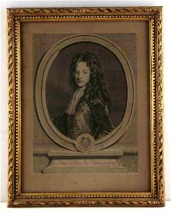 EARLY TROYE EDELINCK ENGRAVING FRENCH ARISTROCRAT