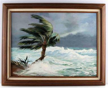 VINTAGE HURRICANE AGNES TROPICAL PAINTING BY ALIX