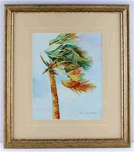 ANNE LEE HEATON WATERCOLOR TROPICAL PALM PAINTING