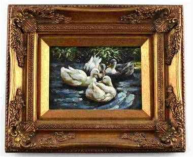 ANTIQUE OIL ON BOARD OF DUCKS IN A POND