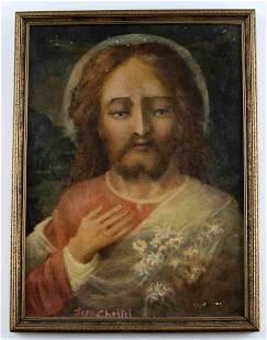 MID 20TH CENTURY OIL PAINTING OF JESUS CHRIST