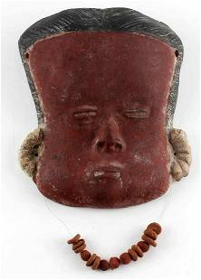 EARLY ETHNIC RED TERRACOTTA CLAY MASK