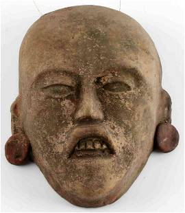 ANCIENT ASIAN CLAY MASK WITH RED DISK EARRINGS