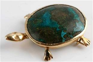 14KT GOLD AND TURQUOISE TURTLE BROOCH PIN