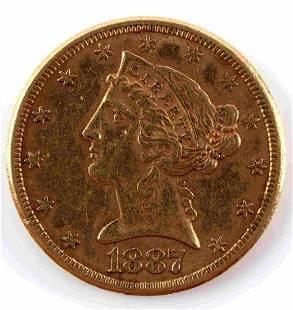 1887 S $5 LIBERTY HEAD HALF EAGLE GOLD COIN VF