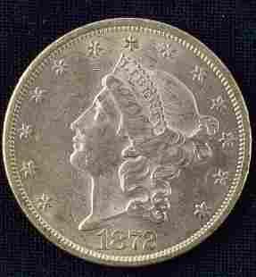 1872 LIBERTY HEAD $20 DOUBLE EAGLE GOLD COIN EF
