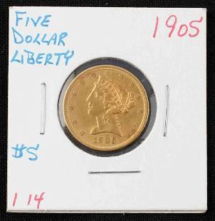 1905 $5 HALF EAGLE LIBERTY HEAD GOLD COIN UNC