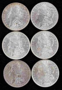 6 MORGAN SILVER DOLLAR AU BETTER GRADE COINS