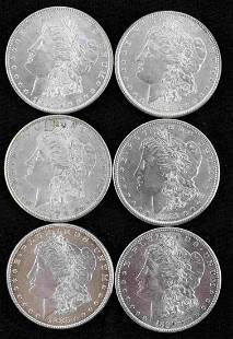 6 MORGAN SILVER DOLLAR AU OR BETTER GRADE COINS
