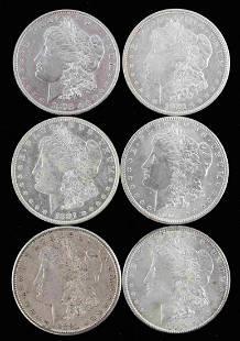 6 MORGAN SILVER DOLLAR EF-AU BETTER GRADE COINS