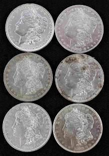 6 MORGAN SILVER DOLLAR EF-AU GRADE COINS