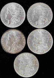 5 MORGAN SILVER DOLLAR AU OR BETTER GRADE COINS