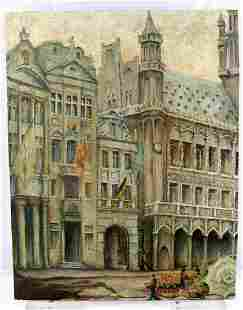 ADOLF HITLER 1909 ARCHITECTURAL OIL PAINTING