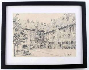 ADOLF HITLER ARCHITECTURAL PENCIL DRAWING
