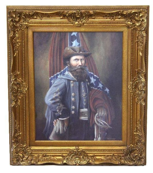 FRAMED OIL PAINTING OF CONFEDERATE GEN JEB STUART