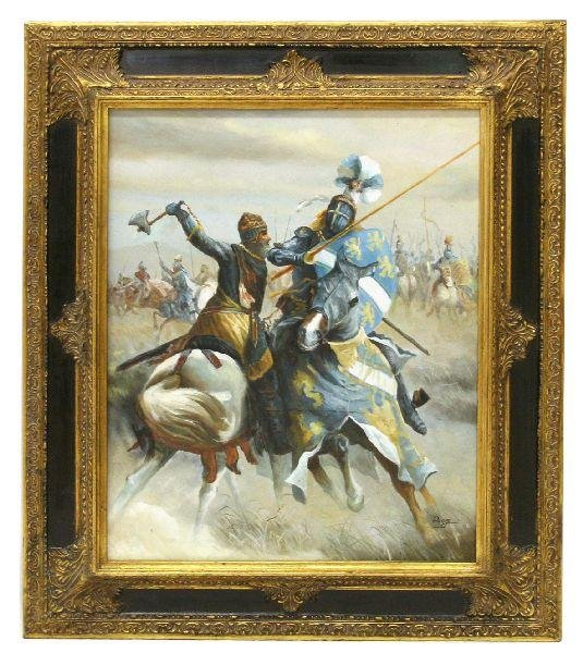 FRAMED PAINTING OF ROBERT THE BRUCE IN COMBAT