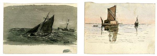 PAIR OF POSTCARD SIZE ROYAL NAVY PAINTINGS