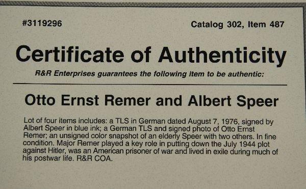 ALBERT SPEER & OTTO ERNST REMER AUTOGRAPHS - 6