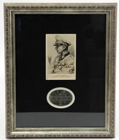 HERMANN FEGELEIN SIGNED CARD AND SS DOG TAG