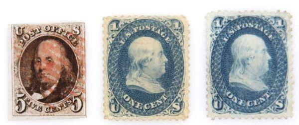 BEN FRANKLIN STAMP LOT 1 1847 2 1861 SCOTTS 1 & 63