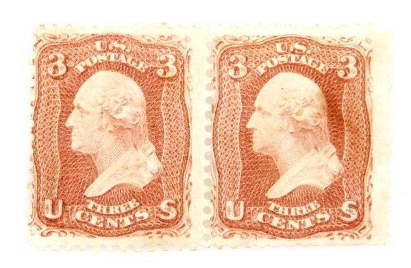 1861 GEORGE WASHINGTON UNUSED STAMP PAIR SCOTT 65