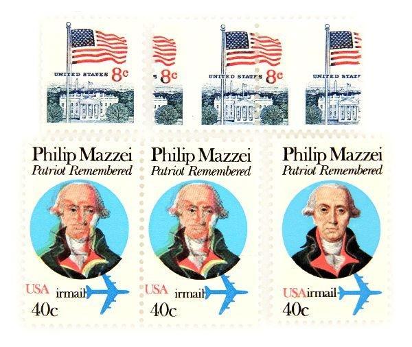 ERROR STAMP LOT PHILLIP MAZZEI & U.S. FLAG UNUSED