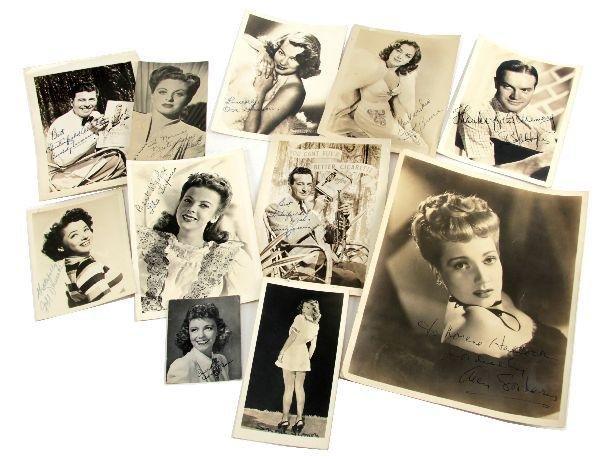 11 LOT WWII ERA SIGNED HOLLYWOOD STAR PRESS PHOTOS