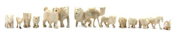 LARGE COLLECTION OF ZOOMORPHIC IVORY FIGURINES