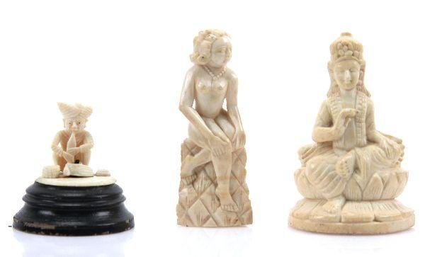 COLLECTION OF 3 CARVED IVORY FIGURES
