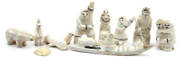 CARVED INUIT WALRUS IVORY FIGURINES-LOT OF 11