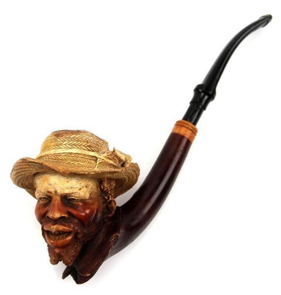 BLACK AMERICANA CARVED MEERSCHAUM PIPE