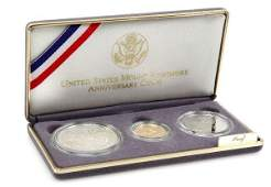 1991 COMMEMORATIVE RUSHMORE 3 COIN SILVER GOLD SET